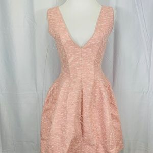 Pink Tweed V Neck Fit And Flare Dress - Women's S